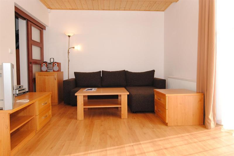 Le canapé-lit dans le salon pouvant accueillir un autre deux si nécessaire