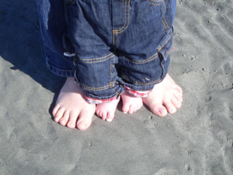 Bare feet at Qualicum Beach!