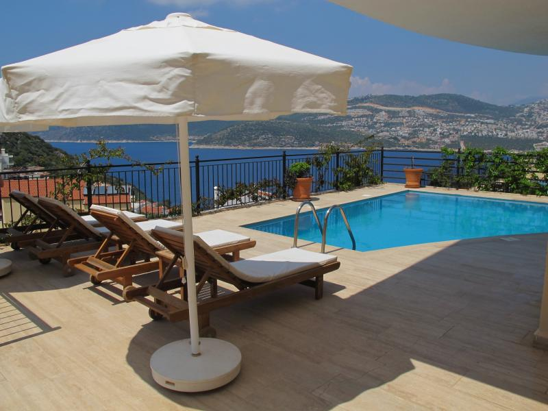 Relax by the pool with views over Kalkan Bay
