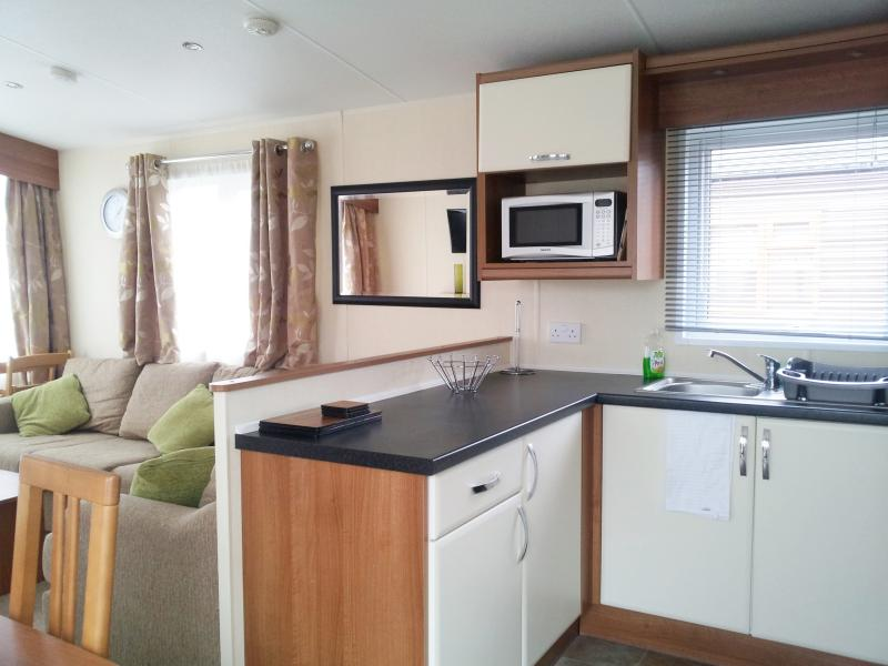 Open plan living/ kitchen area with all mod cons