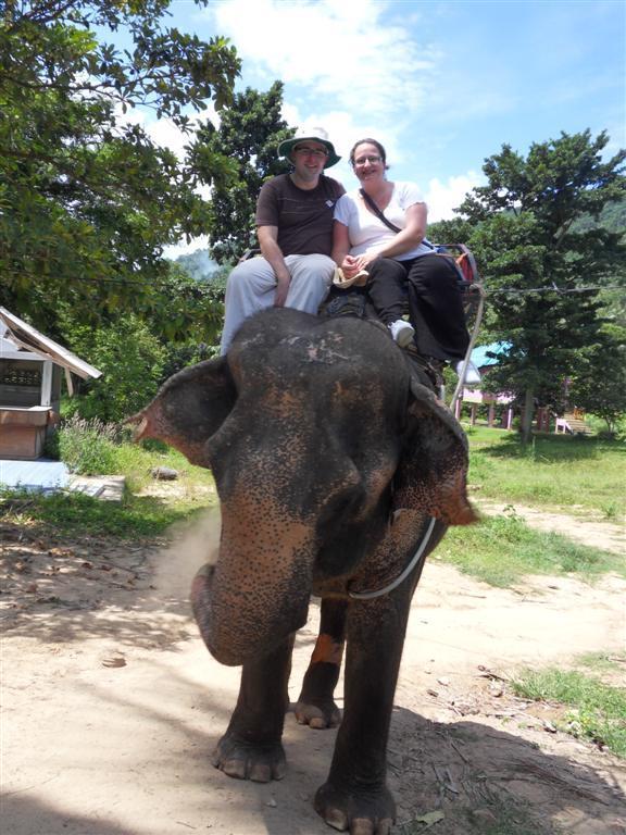 Couple Elephant trekking south of the island