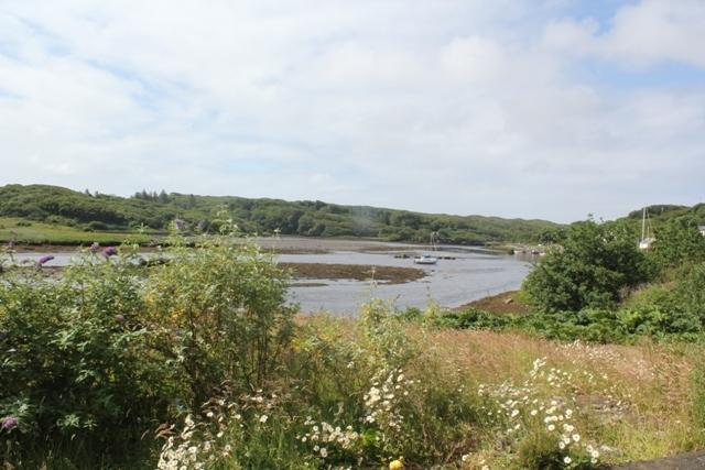 View from Helen's Hideaway of Clifden harbour when the tide is out