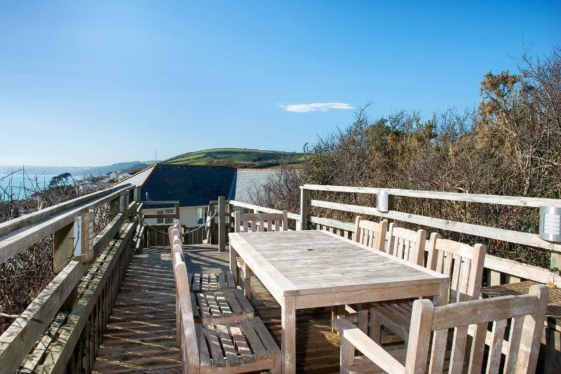 Elevated decking with sea views