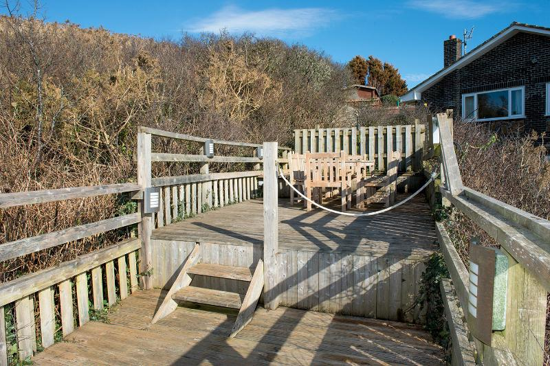 Elevated decking with outdoor furniture