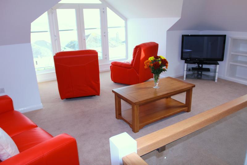 Luxury upstairs Lounge with wonderful views to Rock and Polzeath
