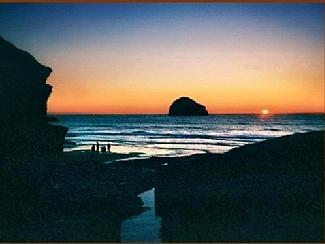 Trebarwith Strand at sunset