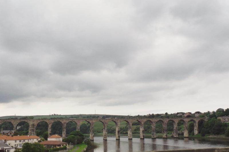 The famous Royal Border Bridge spans the River Tweed