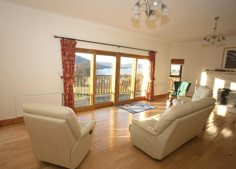 The sitting room is perfect for enjoying the view