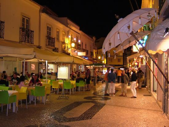 Lagos old town by night, comfortable walking distance, many restaurants