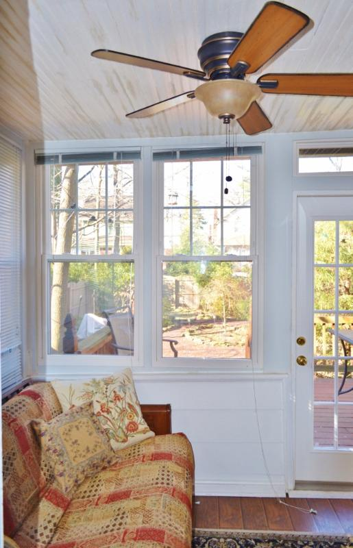 Sun room opens to the back deck