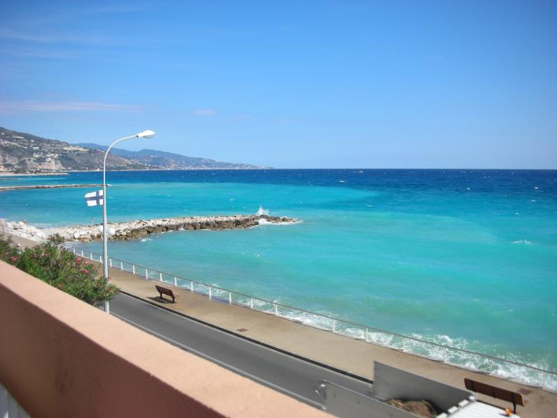 The Azure blue sea from our balcony