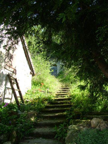 Steps leading to cave