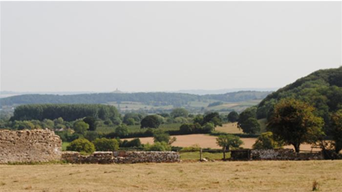 Views across to Glastonbury Tor from Low Ham