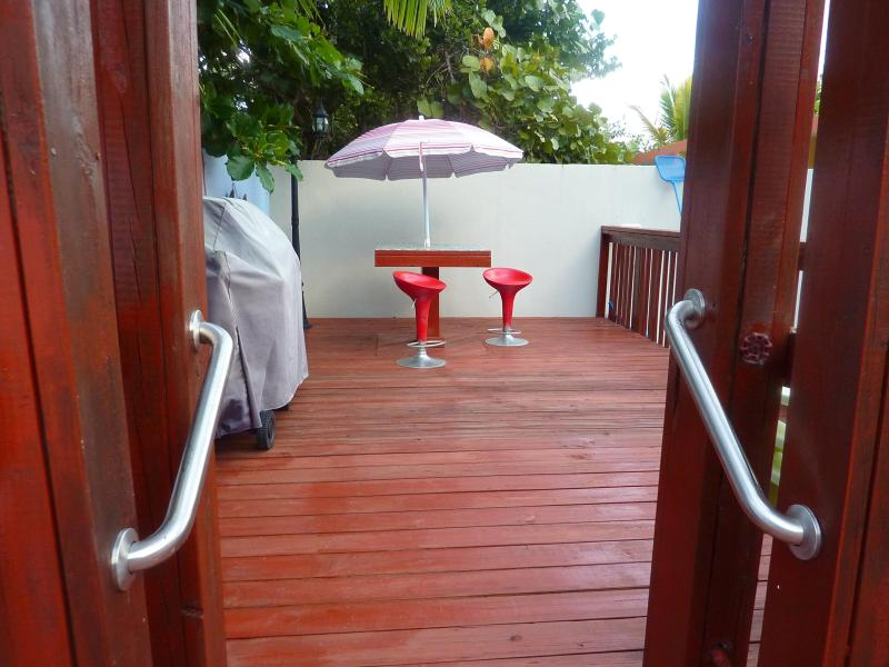 Gas grill and/or bbq grill, and pressure shower on the deck by the pool