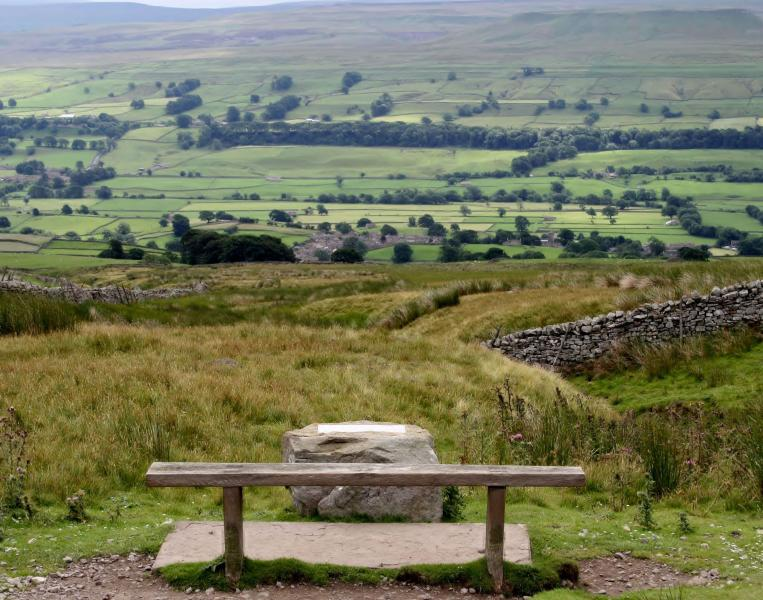 View across Wensleydale from the Askrigg Millenium seat
