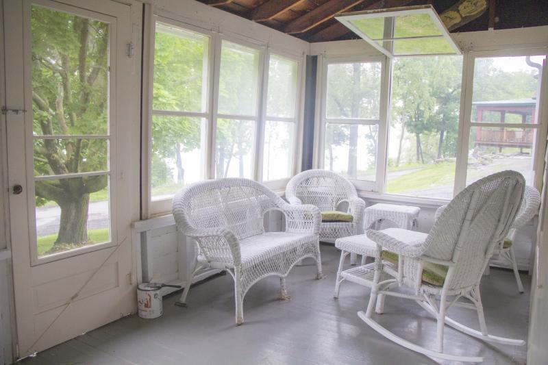Screened-in Front Porch with view of Lake