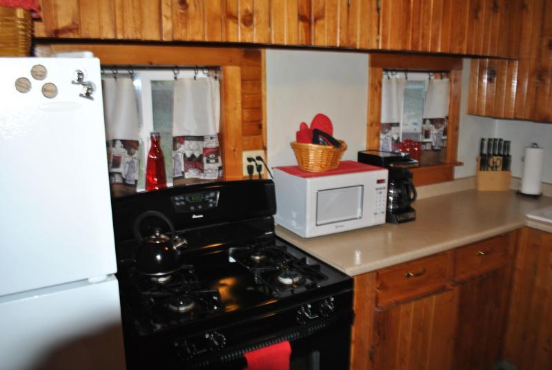 Cucina con fornello e forno a microonde