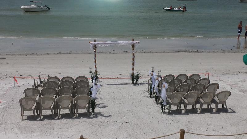 A wedding set up on the beach