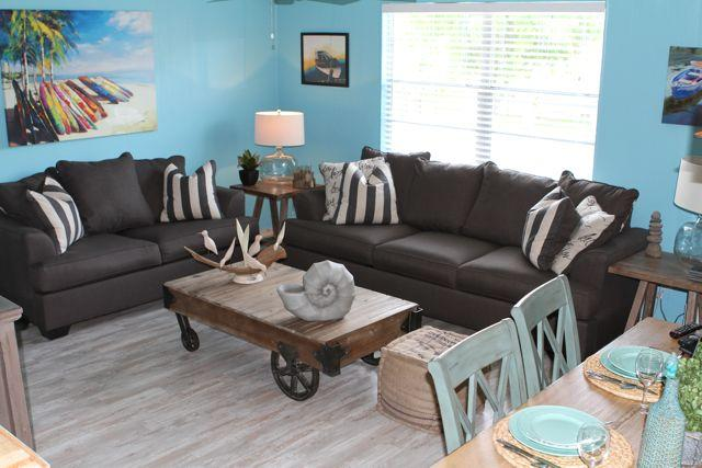 Living room 'A' side with the funky railway cart  and memory foam queen size sofa bed.