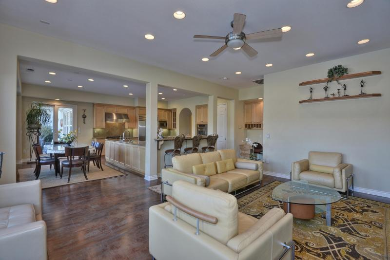 Living room & kitchen view portrays how large entire room for family gatherings