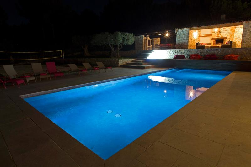 The pool area at night.
