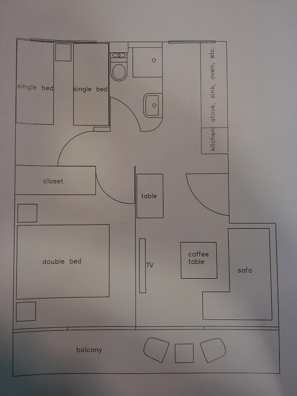 plan de distribución del apartamento