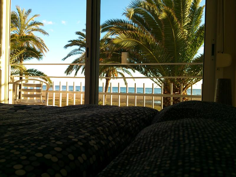la vista desde la cama en el dormitorio principal