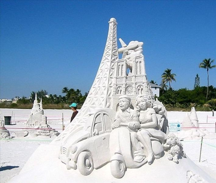 Sandcastles on the beautiful white sand