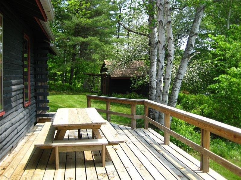 The side porch and picnic table.