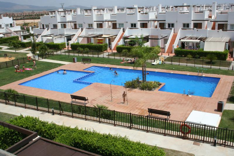 View of the swimming pool from the Sun terrace