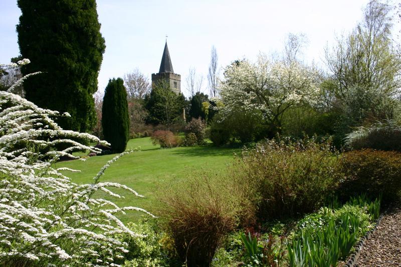 A view of the church through the gardens