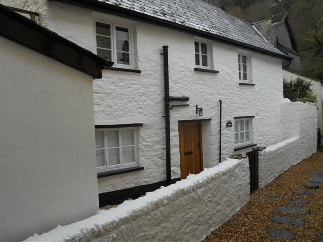 Front of Fishermans Rest looking down Summerhouse Path, Lynmouth Devon