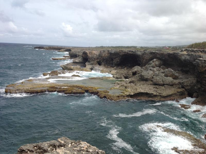 Spectacular view at North point where caribean sea meets Atlantic ocean