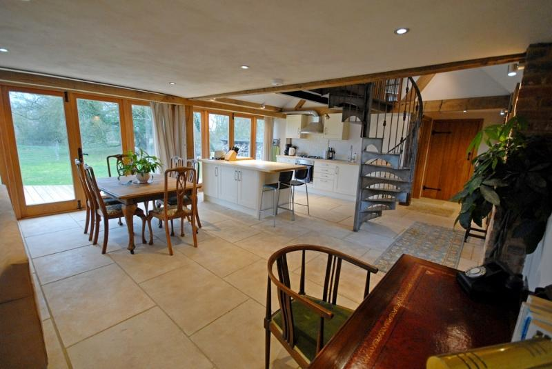 Dining area with access to outside decking