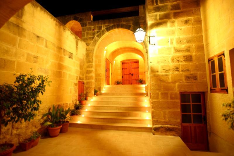 internal courtyard at night