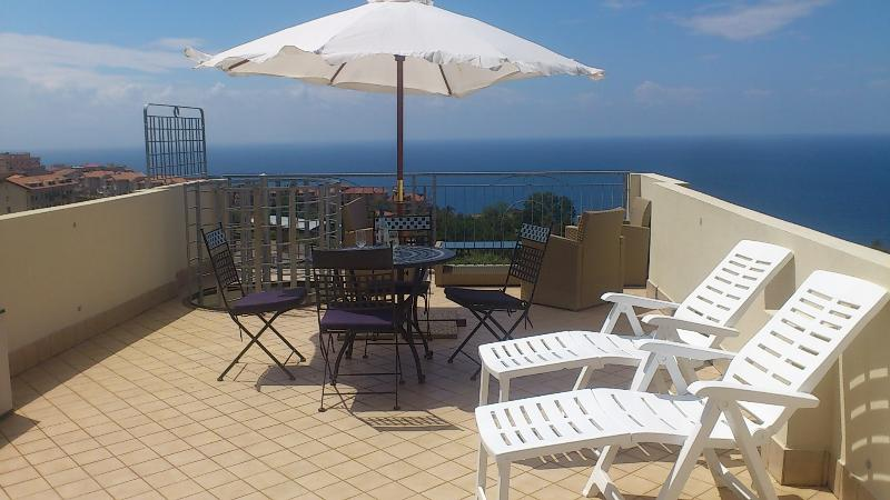 Stunning sea views from Private Roof Terrace with table/chairs, sun loungers and 4 piece suite