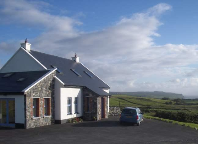 The front of the house, looking towards the Cliffs of Moher