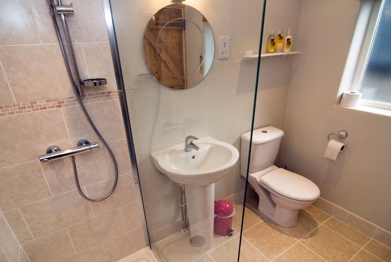 Walk in shower with underfloor heating