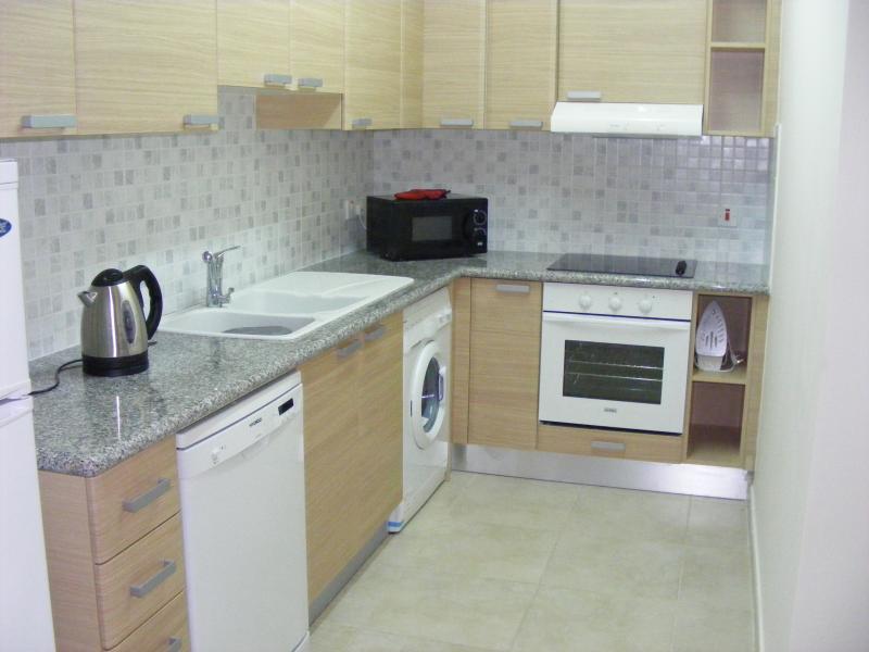 La cucina completamente attrezzata con lavastoviglie e lavatrice