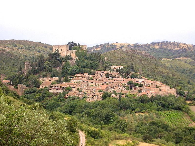 Castelnou seen from the road