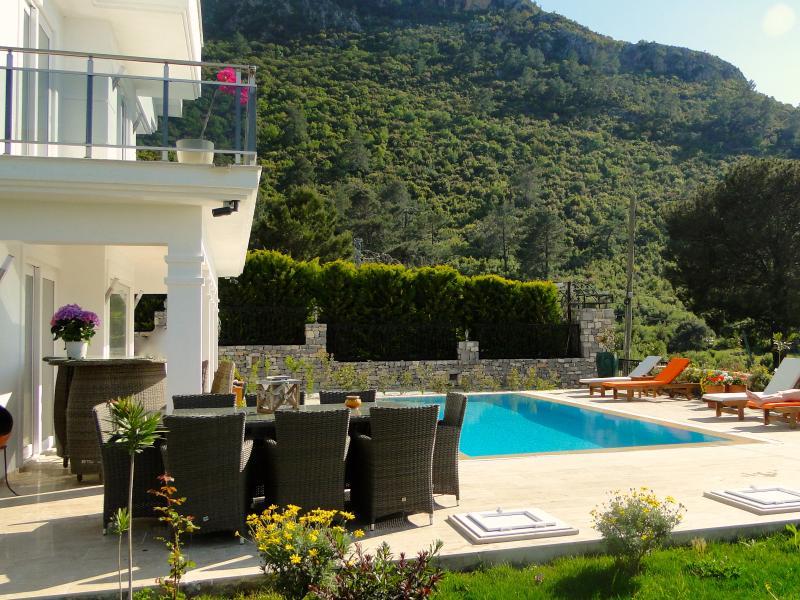 Belle vue de la piscine et salle à manger en plein air et un bar