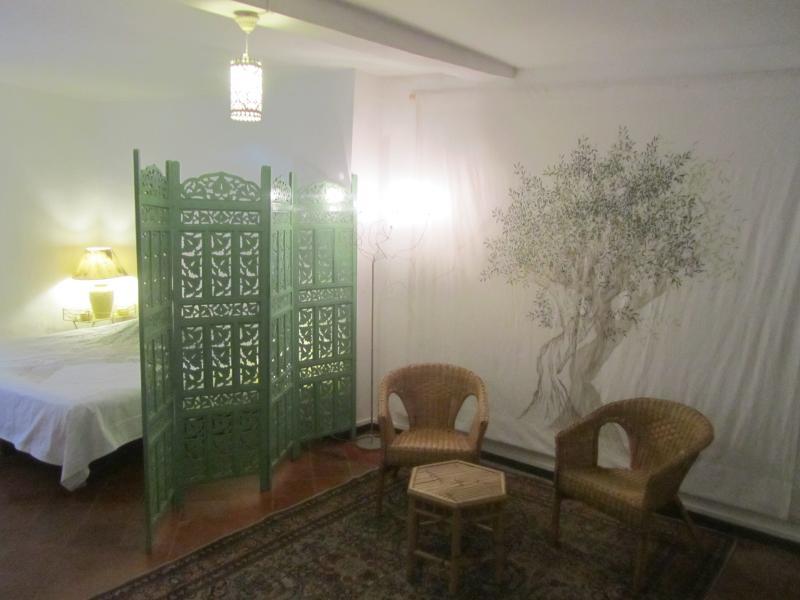 La chambre de l'olivier, avec son dressing ,son mini salon  et 1lit double en 180 !