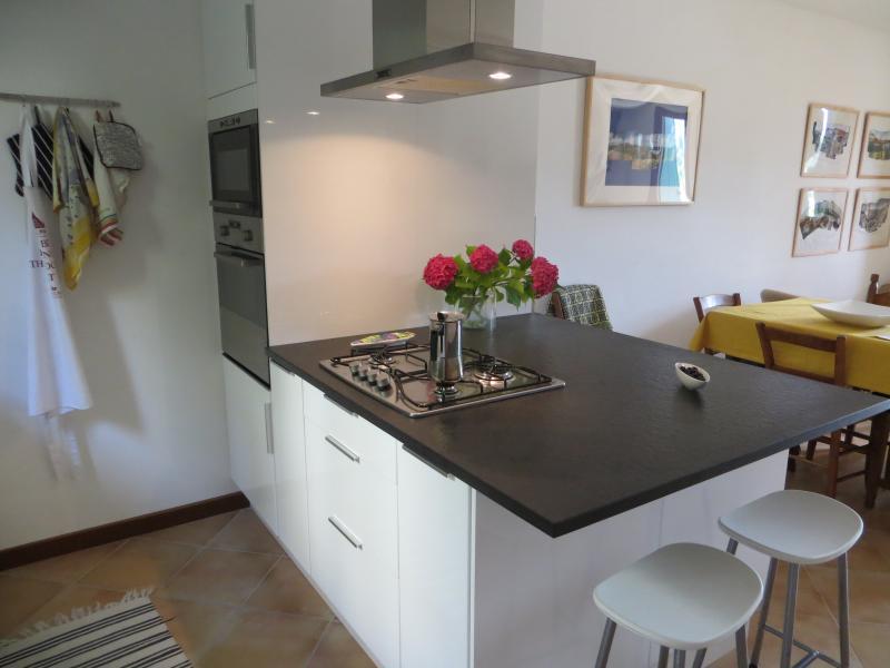 Küche mit Backofen, Mikrowelle, Gasherd