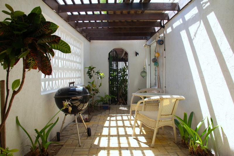 garden with outdoor shower and BBQ