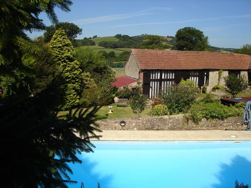 View across pool to Granary