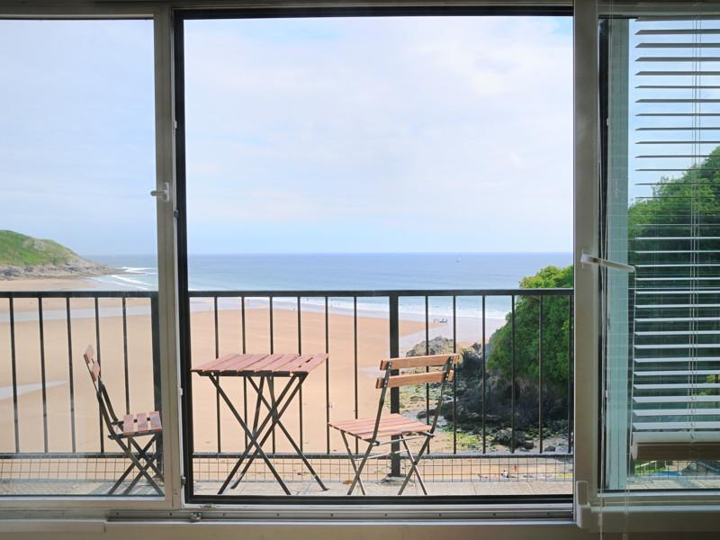 Wonderful balcony view over Caswell Bay.