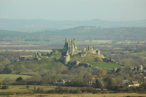 View of Corfe Castle from the Garden.