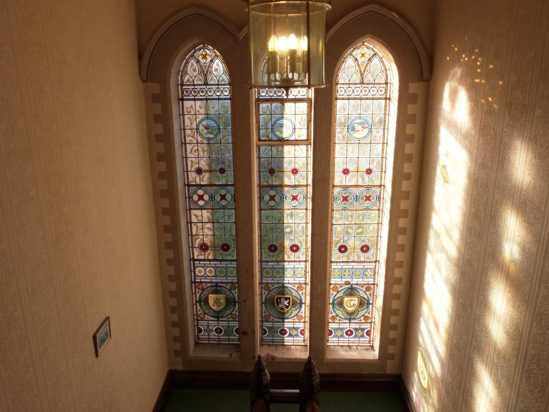 The stained glass window on our main staircase in Shireburne House