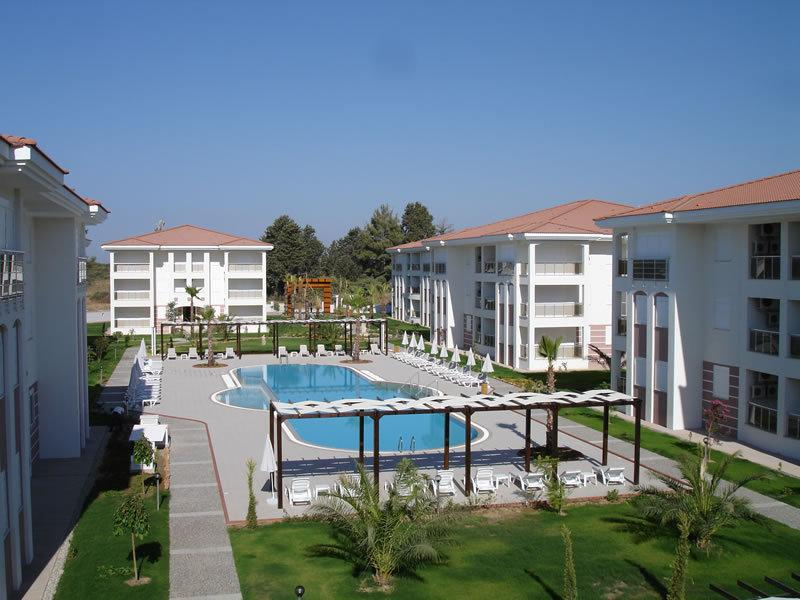 View of large outdoor pool from lounge balcony