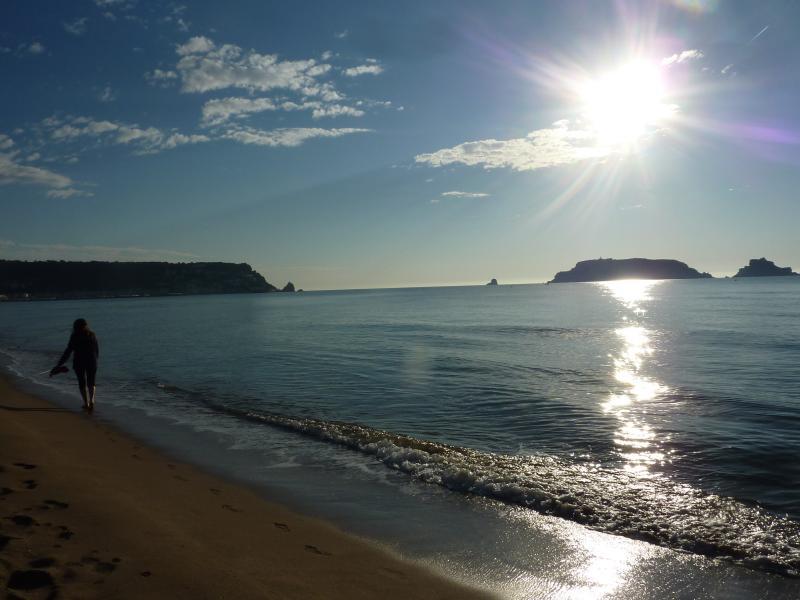 Paseo `por la playa a primera hora. Illes Medas al fondo
